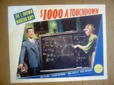 ID18 $1,000 A Touchdown MARTHA RAYE/JOE E. BROWN 1939 Lobby Card