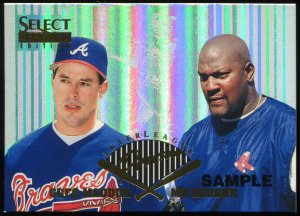 1996 Select Certified Interleague Preview SAMPLE #2 of 25 Greg Maddux and Mo Vaughn