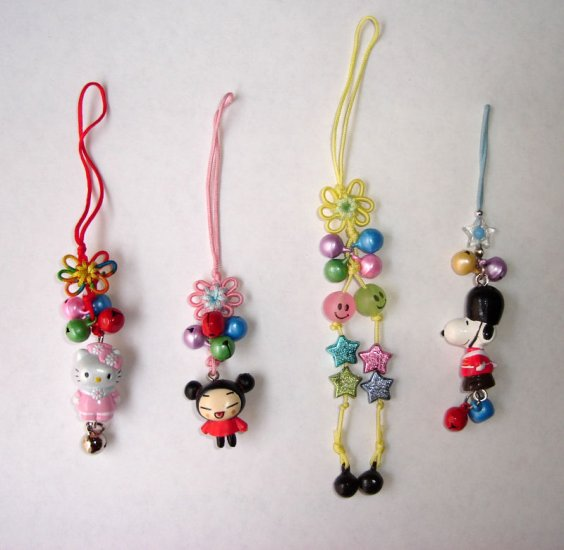 Free Shipping 4 pcs/lot Cute Doll & Metal Bell Chinese lucky Knots