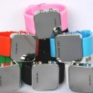 Free Shipping 6 pcs/lot New Mirrored Surface LED Watches