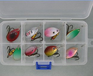 Free Shipping 8 pcs Lure Spinner With Box