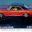 "1969 Camaro Z/28 Ad Digitized & Re-mastered Poster Print ""We've Got a Mean Streak"" 16"" x 24"""