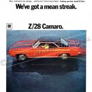 "1969 Camaro Z/28 Ad Digitized & Re-mastered Poster Print ""We've Got a Mean Streak"" 18"" x 24"""