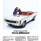 "1969 Camaro RS/SS Ad Digitized & Re-mastered Poster Print ""Vive le Difference"" 18"" x 24"""