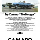 "1967 Camaro Ad Digitized & Re-mastered Poster Print ""The Hugger-Blue"" 18"" x 24"""