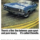 "1969 Chevelle SS Ad Digitized & Re-mastered Print ""Fine Line Between Pure Sport & Luxury"" 18"" x 24"""