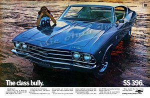 "1969 Chevelle SS Ad Digitized & Re-mastered Poster Print ""Class Bully"" 16"" x 24"""