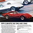 "1979 Chevrolet Corvette Stingray Ad Digitized & Re-mastered Poster Print ""The One and Only"" 18""x24"""