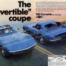 "1968 Chevrolet Corvette Stingray Ad Digitized & Re-mastered Print ""The Convertible Coupe"" 16"" x 24"""