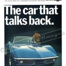 "1968 Chevrolet Corvette Stingray Ad Digitized & Re-mastered Print ""Car that Talks Back"" 18"" x 24"""
