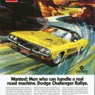 "1973 Dodge Challenger Rallye Ad Digitized & Re-mastered Poster Print ""Real Driving Machine"" 18""x24"""