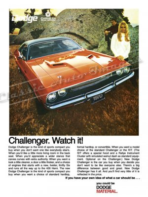 "1970 Dodge Challenger R/T Ad Digitized & Re-mastered Poster Print ""Watch It"" 18"" x 24"""