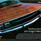 "1970 Dodge Challenger R/T Ad Digitized & Re-mastered Poster Print ""This Pony Has Horses"" 18"" x 24"""