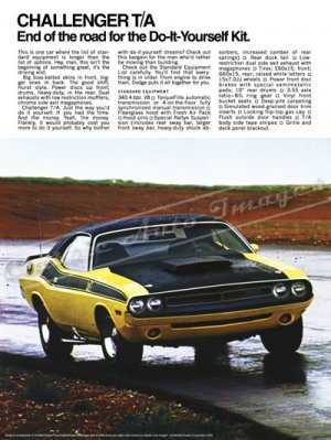 "1971 Dodge Challenger T/A Ad Digitized & Re-mastered Poster Print 18"" x 24"""