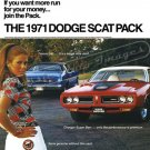 "1971 Dodge Scat Pack Ad Digitized & Re-mastered Poster Print 18"" x 24"""