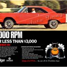 "1969 Dodge Dart Swinger Ad Poster Print ""6000 RPM for Less Than $3000"""