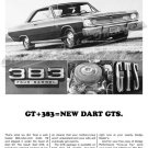 "1967 Dodge Dart GTS Ad Digitized & Re-mastered Poster Print ""GT 383 = GTS"" 18"" x 24"""