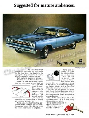 "1969 Plymouth GTX Ad Digitized and Re-mastered Poster Print ""Suggested for Mature Audiences"" 18""x24"""