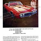"1967 Pontiac Firebird 400 Ad Digitized and Re-mastered Poster Print ""Too Much Car for You"" 18"" x 24"""