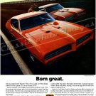 "1969 Pontiac GTO Judge Ad Digitized & Re-mastered  Poster Print ""Born Great"" 18"" x 24"""
