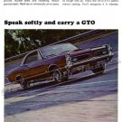 "1966 Pontiac GTO Ad Digitized & Re-mastered Poster Print ""Speak Softly and Carry a GTO"" 18"" x 24"""