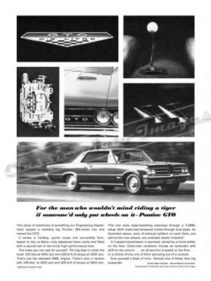 """1964 Pontiac GTO Ad Digitized & Re-mastered Poster Print """"The Man Who Would Ride a Tiger"""" 18"""" x 24"""""""