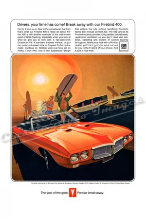 """1969 Pontiac Firebird 400 Ad Digitized and Re-mastered Poster Print """"Your Time Has Come"""" 18"""" x 24"""""""