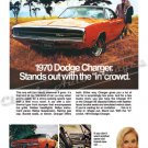 "1970 Dodge Charger Ad Digitized and Re-mastered Poster Print ""The In Crowd"" 18"" x 24"""