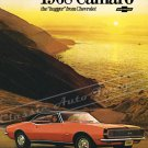 """1968 Chevrolet Camaro RS/SS Ad Digitized & Re-mastered Poster Print """"Hugger from Chevrolet"""" 24""""x32"""""""