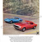 "1968 Camaro SS & Corvette Stingray Ad Digitized & Re-mastered Poster Print ""Aerodynamic Duo"" 24""x32"""