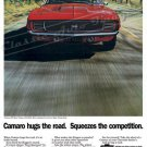 "1969 Camaro RS/SS Ad Digitized & Re-mastered Poster Print ""Hugs Road-Squeezes Competition"" 24"" x 32"""