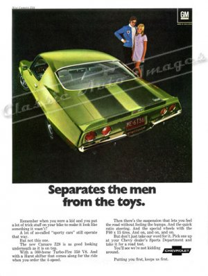 """1970 Camaro Z/28 Ad Digitized & Re-mastered Poster Print """"Separates the Men From the Toys"""" 24"""" x 32"""""""