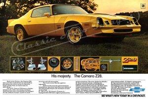 "1978 Camaro Z/28 Ad Digitized & Re-mastered Poster Print ""His Majesty. The Camaro Z/28"" 24"" x 36"""