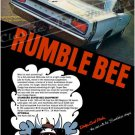 "1968 Dodge Super Bee Ad Digitized & Re-mastered Poster Print ""Rumble Bee"" 24"" x 32"""