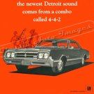 "1966 Oldsmobile 442 Ad Digitized & Re-mastered Poster Print ""The Newest Detroit Sound"" 24"" x 32"""