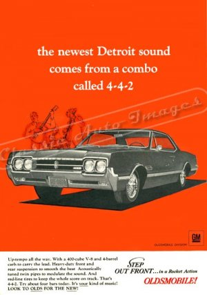 """1966 Oldsmobile 442 Ad Digitized & Re-mastered Poster Print """"The Newest Detroit Sound"""" 24"""" x 32"""""""