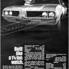 "1969 Oldsmobile 442 Ad Digitized & Re-mastered Poster Print ""Built Like a 1 3/4 Ton Watch"" 24"" x 32"""