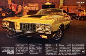 "1970 Oldsmobile 442 Ad Digitized & Re-mastered Print ""Engine Ernie's Bore & Stroke Shop"" 24"" x 36"""