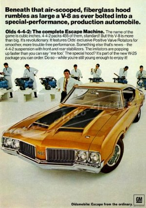"1970 Oldsmobile 442 Digitized & Re-mastered Ad Poster Print ""Escape Machine"" 24"" x 34"""