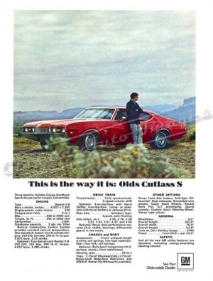 "1968 Oldsmobile Cutlass S Digitized & Re-mastered Ad Poster Print ""This is the Way it Is"" 24"" x 32"""