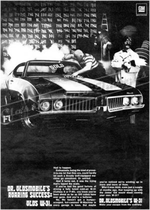 "1969 Oldsmobile Cutlass S W-31 Ad Digitized & Re-mastered Poster Print ""Roaring Success"" 24"" x 32"""