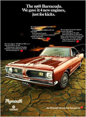 "1968 Plymouth Barracuda Ad Digitized and Re-mastered Poster Print ""Just for Kicks"" 24"" x 32"""