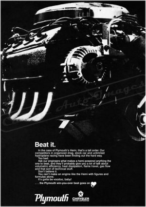 "1968 Plymouth Hemi Ad Digitized and Re-mastered Poster Print ""Voodoo"" 24"" x 32"""