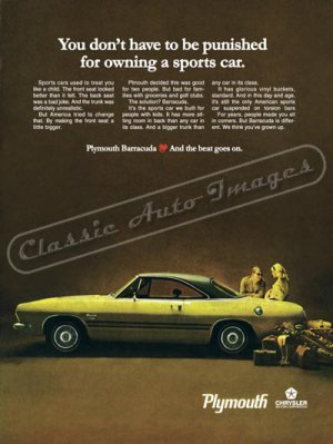 """1969 Plymouth Barracuda Ad Digitized & Re-mastered Poster Print """"Owning a Sports Car"""" 24"""" x 32"""""""