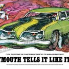 "1969 Plymouth Barracuda Ad Digitized & Re-mastered Print ""Cuda 340 Storms the Quarter Mile"" 24""x36"""