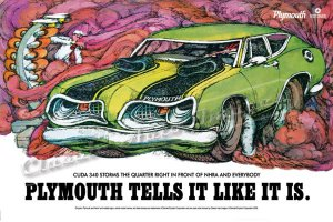 """1969 Plymouth Barracuda Ad Digitized & Re-mastered Print """"Cuda 340 Storms the Quarter Mile"""" 24""""x36"""""""
