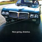 "1970 Pontiac Firebird 400 Ad Digitized and Re-mastered Poster Print ""Nice Going, America"" 24"" x 36"""
