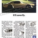 "1971 Pontiac Firebird Trans Am Ad Digitized & Re-mastered Poster Print ""It'll Never Fly"" 24"" x 32"""