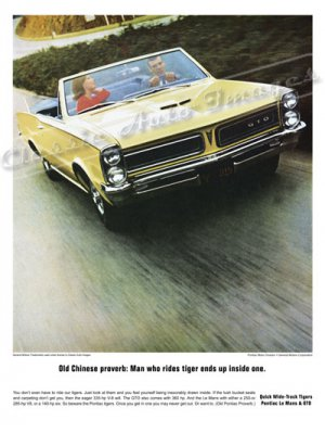 "1965 Pontiac GTO Ad Digitized & Re-mastered Poster Print ""Old Chinese Proverb"" 24"" x 32"""
