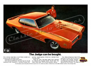 "1969 Pontiac GTO Judge Ad Digitized & Re-mastered Poster Print ""The Judge Can be Bought"" 24"" x 32"""